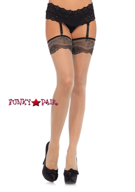 LA1081, Stocking with Woven Lace Top