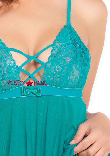 LA81561, Mesh and Lace Babydoll turquoise close up