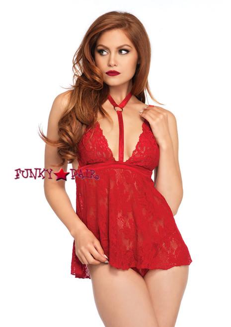 LA81549, Lace Harness Halter Babydoll color red