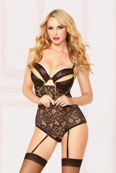 STM-10873, Floral Lace Teddy with Chain Detail