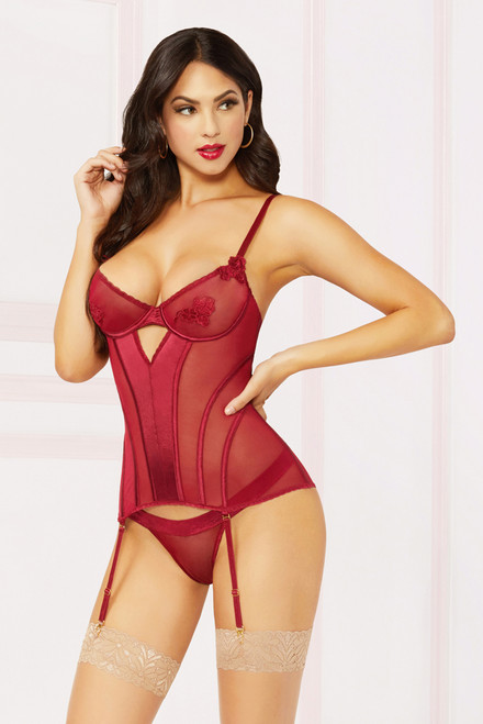 STM-10882, Satin and Mesh Bustier Set
