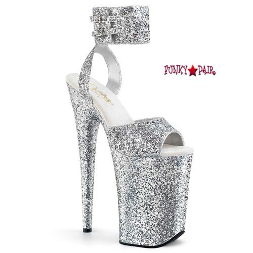 Pleaser Shoes Infinity-991LG, 9 Inch High Heel Glitter Wide Ankle Strap Platform Sandal