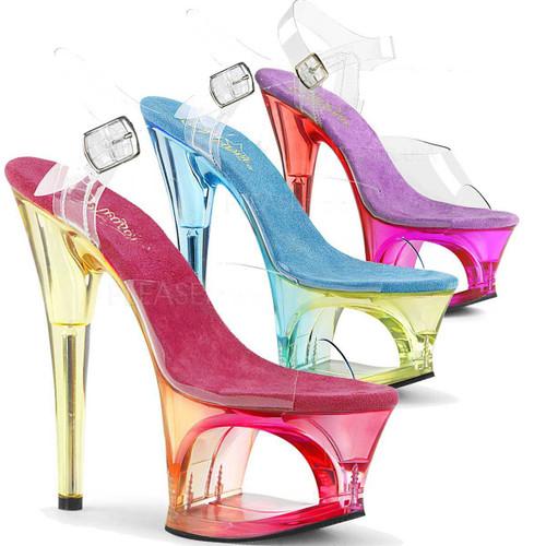 Stripper Shoes Moon-708MCT, 7 Inch High Heel Cut out Tint Platform