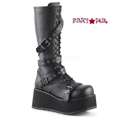 Demonia | Men Trashville-520, 3.25 Inch Platform Lace-up Knee High Boots