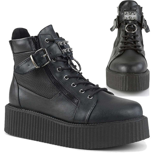 Men's V-Creeper-566 Lace-Up Oxford Bootie by Demonia Shoes