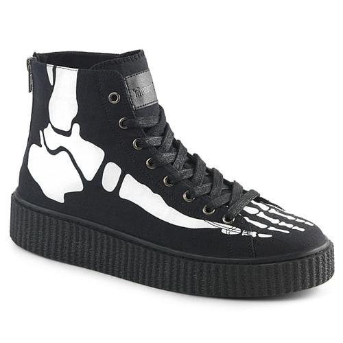 Sneeker-252, 1.5 Inch Platform Creeper Sneaker with Xray Bone Print Demonia