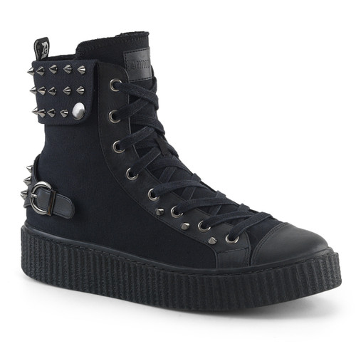 Sneeker-266, 1.5 Inch Platform Lace up Creeper Sneaker with Cuff Snap Collar