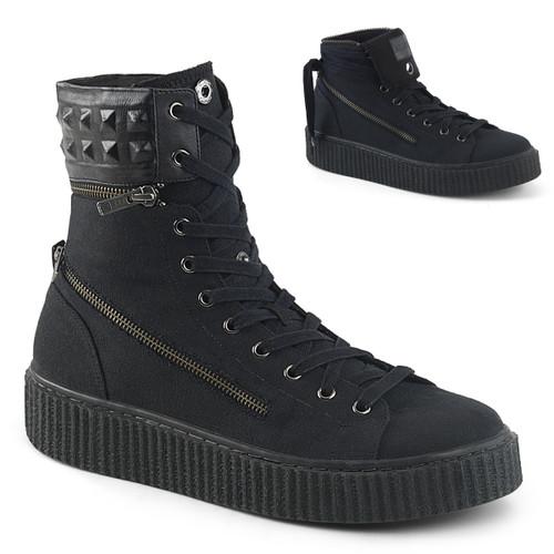 Sneeker-270, 1.5 Inch Platform Creeper Sneaker with Removable Padded Collar Demonia Men's