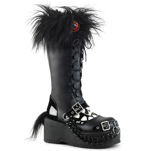 Women Demonia Dolly-130, Platform Monster Knee High Boots
