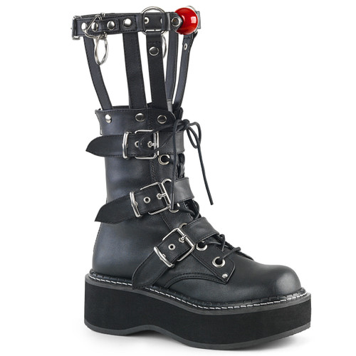 Emily-355, Punk Cage Style Platform Boots with Red Ball by Demonia
