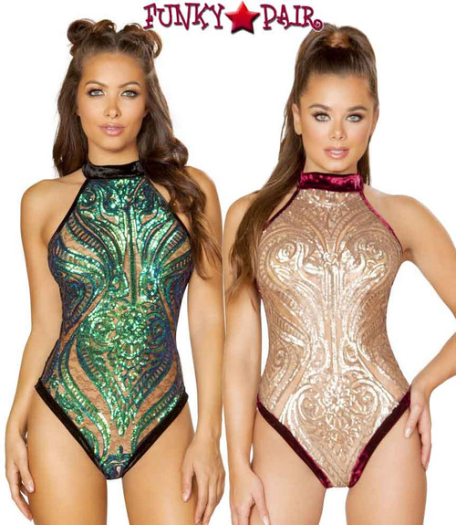 Roma | R-3581, Sequin and Velvet Bodysuit color available: Rose Gold/Burgundy, Green/Black