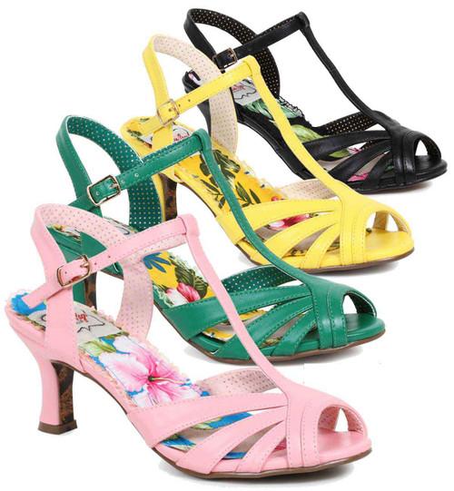 Bettie Page Shoes | BP300-Layla, Peep Toe T-Strap Sandal