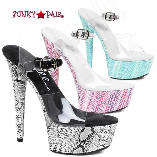 "Ellie Shoes | 609-Akasha 6"" Snakeskin Print Platform Slide | FunkyPair.com"