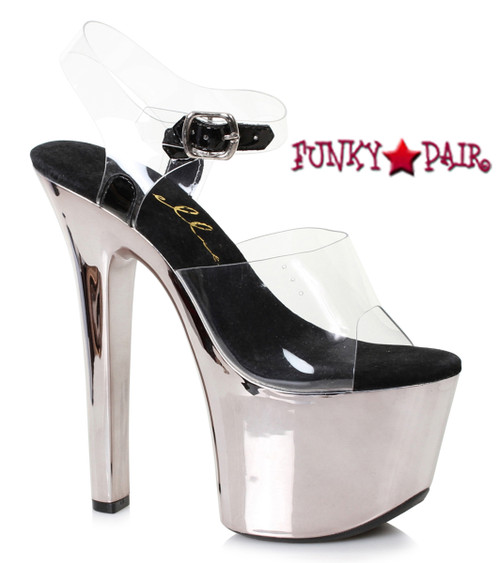 Stripper Shoes 711-Christy, 7 Inch Chrome Platform Ankle Strap Sandal