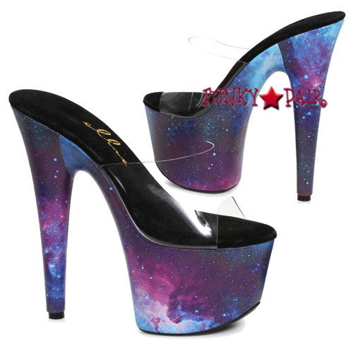 709-Galaxy, 7 Inch Stiletto Heel Slide with Cosmo Print