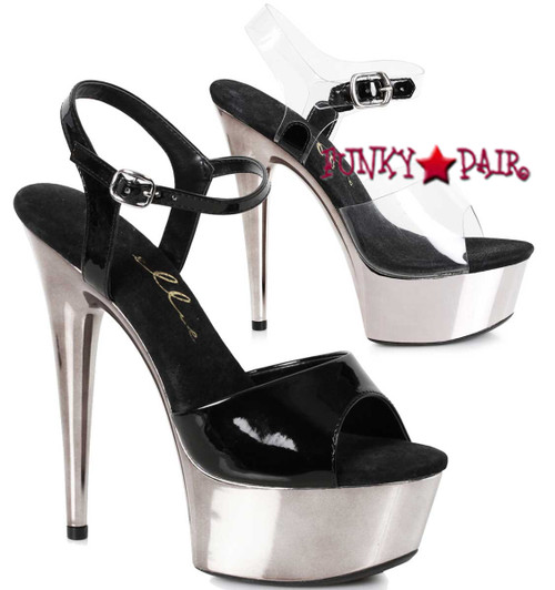 609-Christy, 6 Inch Chrome Platform Ankle Strap Sandal Ellie shoes