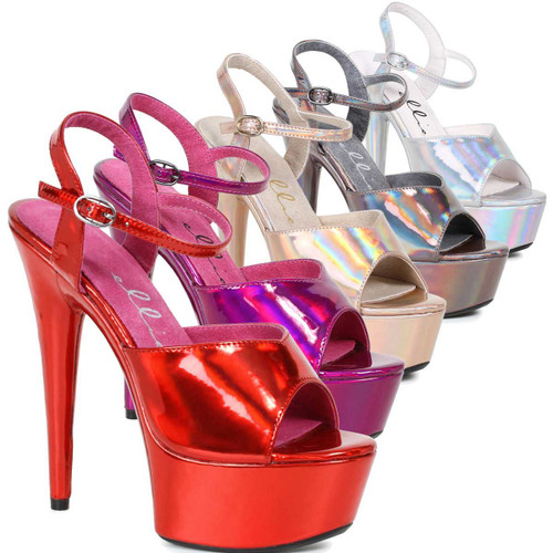 "Ellie Shoes | 609-Lola 6"" Metallic Pole Shoes"