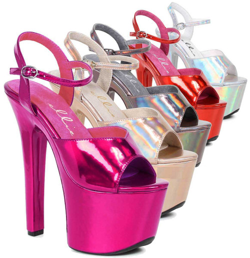 "Ellie Shoes | 711-Lola 7"" Stripper Heels with Metallic Platform Sandal color available: gold, fuchsia, silver, red, pewter"