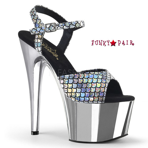 Adore-709MSC, Chrome Plated Platform Shoes Color Silver Hologram/Slv Chrome