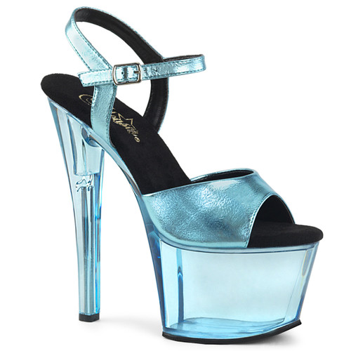 Blue Tinted Dancer Shoes by Pleaser Sky-309MT