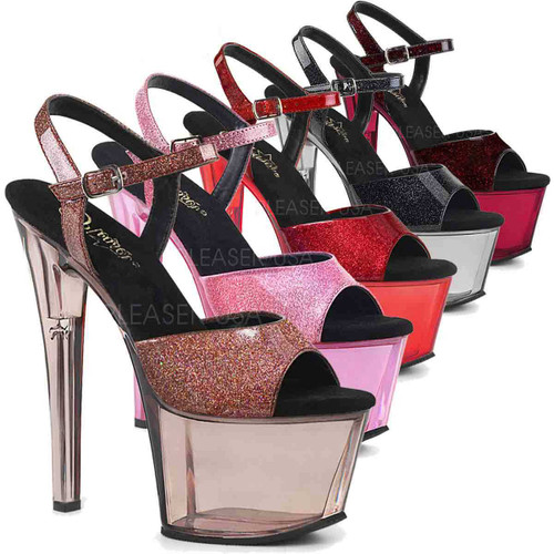 Stripper Shoes Sky-309GPT Glitter Strap with Tinted Platform Sandal Pleaser U.S.A.