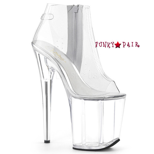 Pleaser Shoes   Flamingo-1023, Clear Ankle Boots
