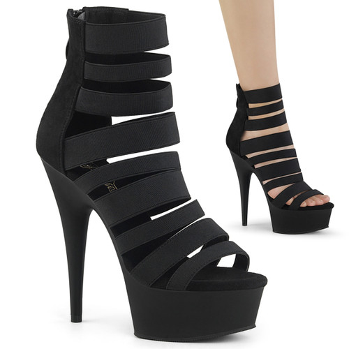 Pleaser Shoes | Delight-600-17, Elastic Strappy Platform Sandal