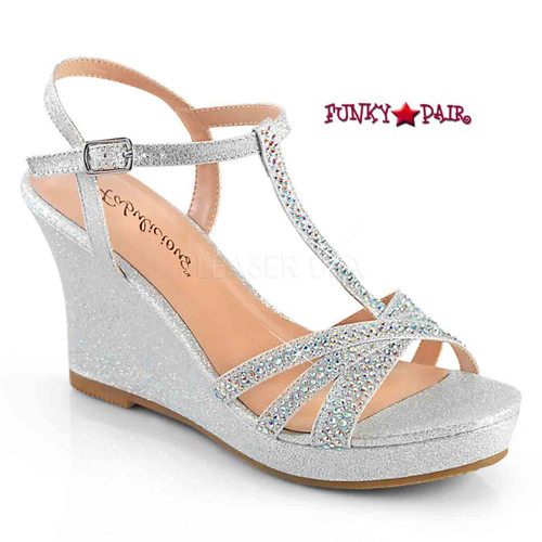 Silvie-20, Platform T-Strap Wedge Color Silver Shimmering Fabric