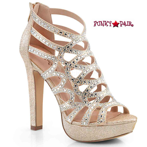 Selene-24, Cutout Cage Sandal Color Champagne Shimmering Fabric