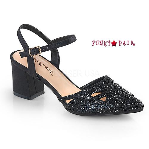 Faye-06, Block Heel Ankle Strap Pump Color Black Shimmering Fabric