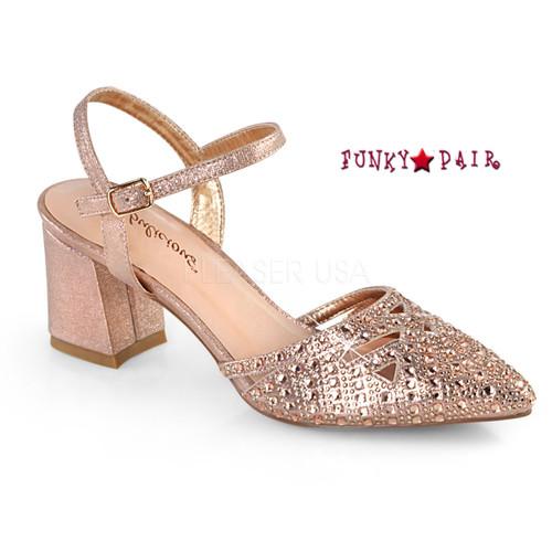 Faye-06, Block Heel Ankle Strap Pump Color Rose Gold Shimmering Fabric