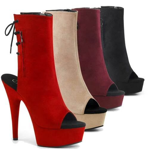 """Delight-1018FS, 6"""" Heel Suede Ankle Boots with Open Toe/Back by Pleaser"""
