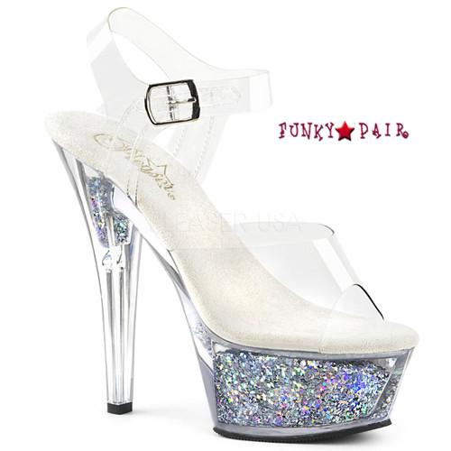 Kiss-208GF, Holographic Glitter Filled Platform Sandal Color Clr/Slv Multi Glitter