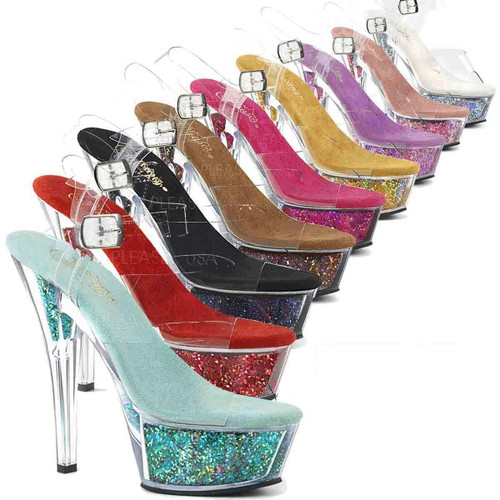 Stripper Shoes | Kiss-208GF, Holographic Glitter Filled Platform Sandal Color Available: Silver, Black, Pink, Fuchsia, Brown, Red, Gold, Turquoise and Lavender Multi Glitter. Available Size 5 thru 11