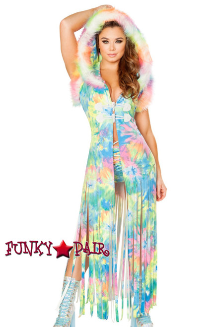 J. Valentine | Fringe Duster Rave Wear JV-FF100. Headband FF199 sold separately. Color Multi Tie Dye