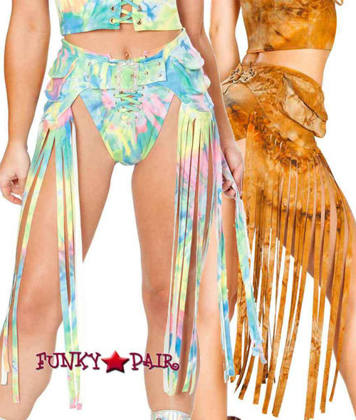 J. Valentine | Fringe Pack Rave Wear JV-FF193 color available: Rusty Tie-Dye, Multi Tie-Dye