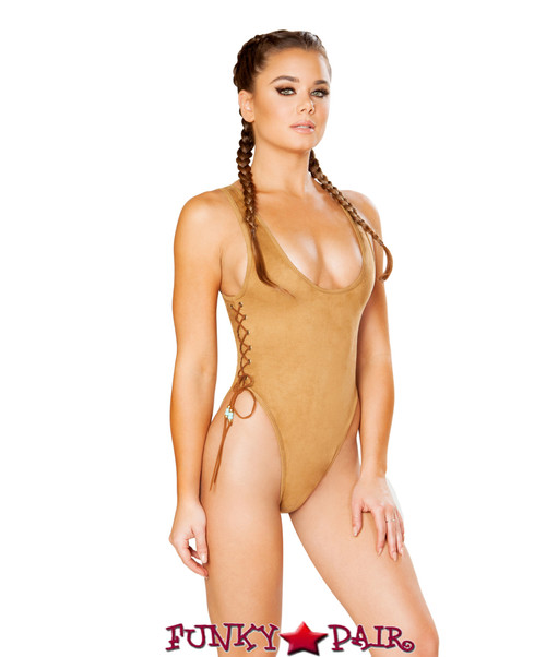 J. Valentine | Faux Suede Bodysuit Rave Wear JV-FF190 color honey