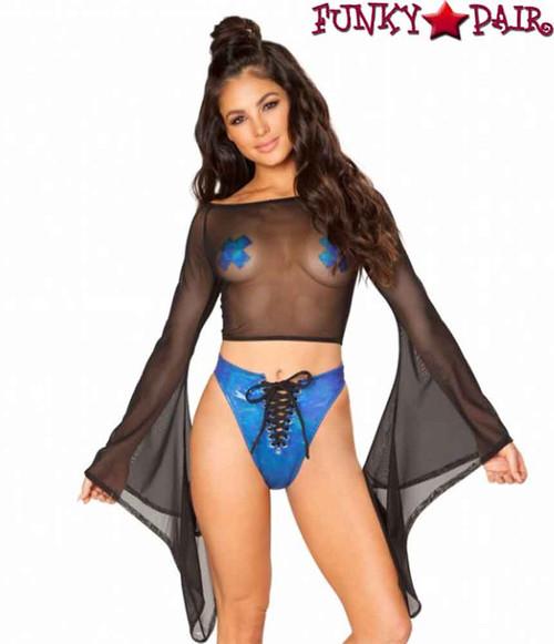 Mesh Gypsy Sleeve Top Rave Wear | J. Valentine JV-FF118 Color Black
