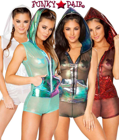 J Valentine | Mesh Hooded Romper Rave Wear JV-FF179 Color available: Black Opal, Mint Aqua, Red, Silver