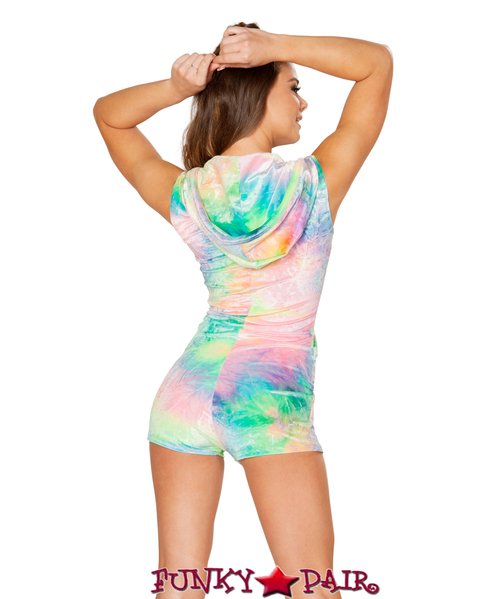 JV-FF185   Velvet hooded romper Color Pastel Tie-Dye Side View . Fabric: 85% Nylon 15% Spandex   Rave Wear Brand J Valentine Made in The USA