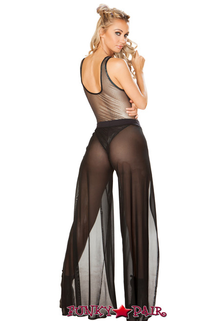 JV-FF138 | Black mesh gypsy pant back view | Rave Wear Brand J Valentine Made in The USA