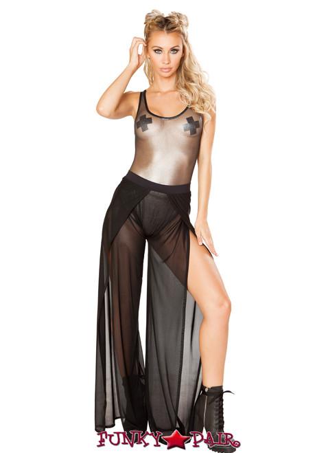 JV-FF138   Black mesh gypsy pant   Rave Wear Brand J Valentine Made in The USA