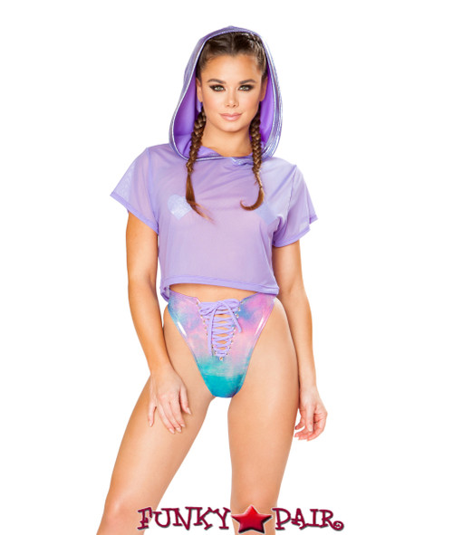 JV-FF163   Mesh/metallic hooded crop top Color Lavender Shimmer   Rave Wear Brand J Valentine Made in The USA