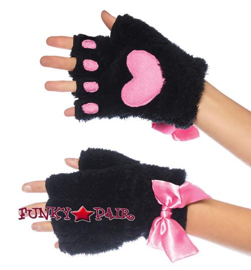Kitty Paw Gloves   Leg Avenue LA-2170 black/pink