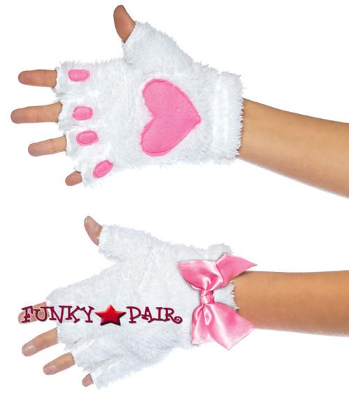 Kitty Paw Gloves   Leg Avenue LA-2170 white/pink