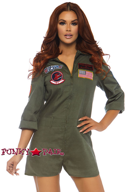 Leg Avenue | TG86747, Top Gun Flight Suit Romper Costume