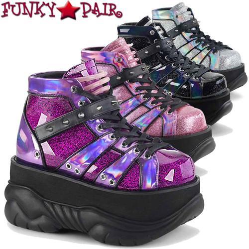 Demonia Men's Neptune-100, Platform Lace-up Shoes