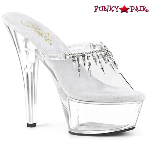 Pleaser | Kiss-201-2, Platform Slide with Rhinestones Spike Chain