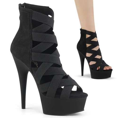 Delight-600-24, Cage Style Open Toe Platform Stripper Bootie