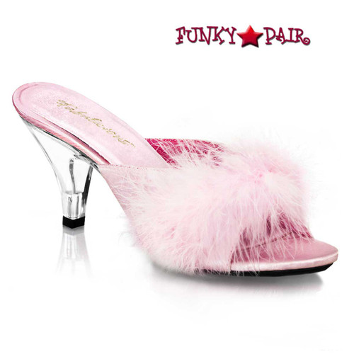 """BELLE-301F, 3"""" Baby Pink Marabou Slipper by Fabulicious Shoes"""